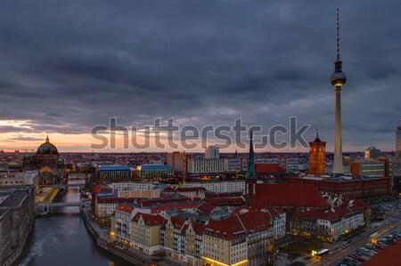 Központ Berlin naplemente híres televízió torony Stock fotó © elxeneize
