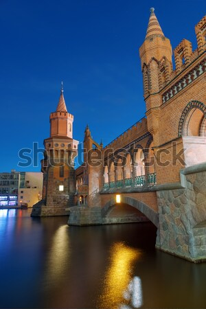 Noite belo Berlim edifício pôr do sol viajar Foto stock © elxeneize