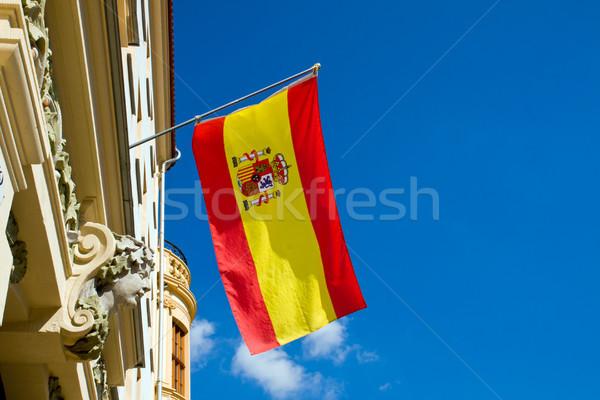 飛行 スペイン国旗 古い建物 青空 青 フラグ ストックフォト © elxeneize