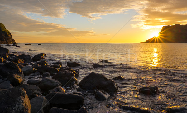 Sunset on the famous Isle of Skye Stock photo © elxeneize