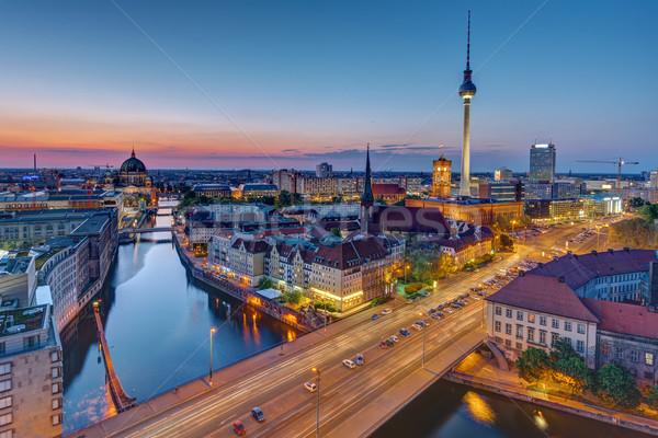 Berlin sziluett kék óra híres tv Stock fotó © elxeneize