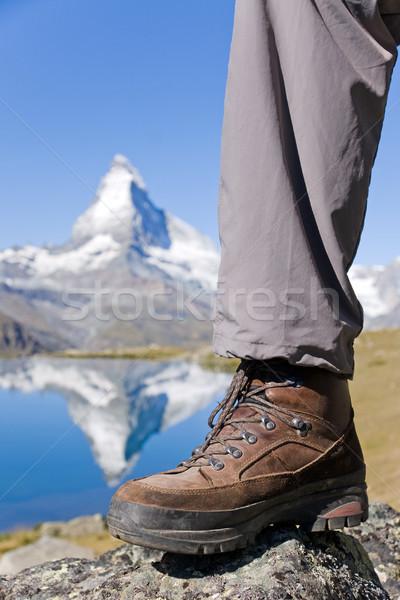 Hiking boots at the Matterhorn Stock photo © elxeneize