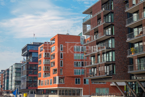 Modern buildings in the Hafencity Stock photo © elxeneize
