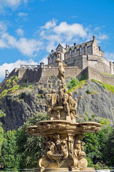 Edinburgh zamek powyżej princess ulicy ogrody Zdjęcia stock © elxeneize