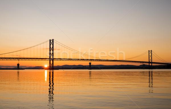 Sunset at the Forth Road Bridge Stock photo © elxeneize