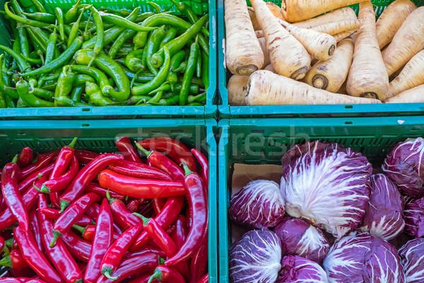 Paprikák egyéb zöldségek vásár piac étel Stock fotó © elxeneize