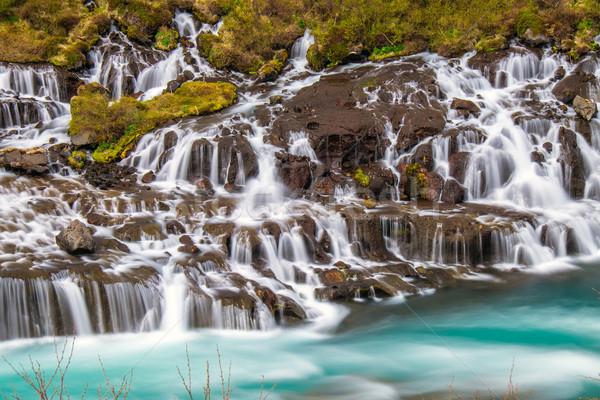 The amazing Hraunfossar in Iceland Stock photo © elxeneize