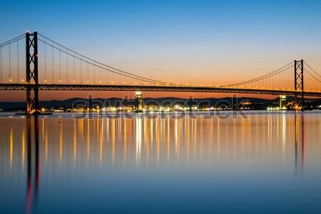 Estrada ponte madrugada escócia céu pôr do sol Foto stock © elxeneize