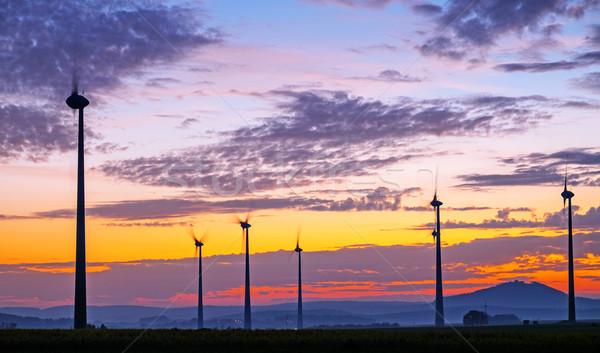 Wind dawn landelijk Duitsland hemel wolken Stockfoto © elxeneize
