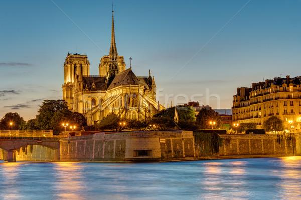 Parigi all'alba noto Cattedrale di Notre Dame cielo Foto d'archivio © elxeneize