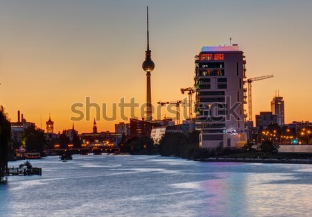 Sunset at the river Spree in Berlin Stock photo © elxeneize