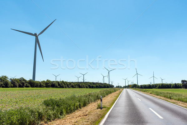 Wind power plants and a country road Stock photo © elxeneize