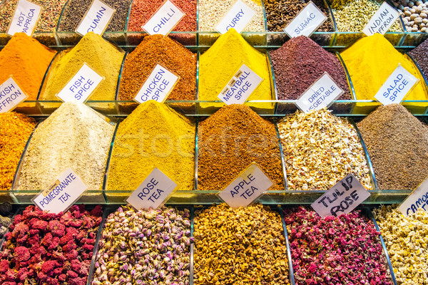 Baharatlar baharat pazar İstanbul gıda kırmızı Stok fotoğraf © elxeneize