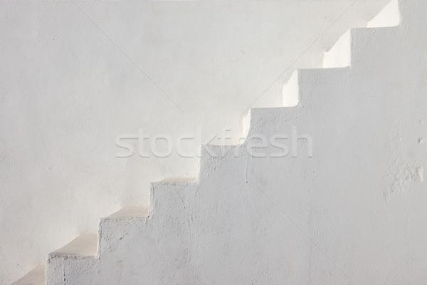 Czyste biały schody grecki wyspa budynku Zdjęcia stock © elxeneize