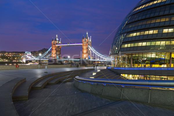 Londra şehir salon Tower Bridge modern ünlü Stok fotoğraf © elxeneize
