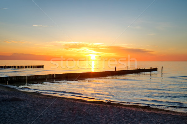 Sunset at the sea in Germany Stock photo © elxeneize