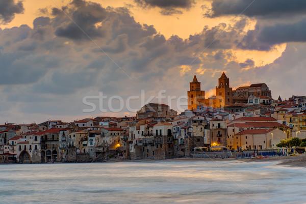 Dramatic sunrise in Cefalu, Sicily Stock photo © elxeneize