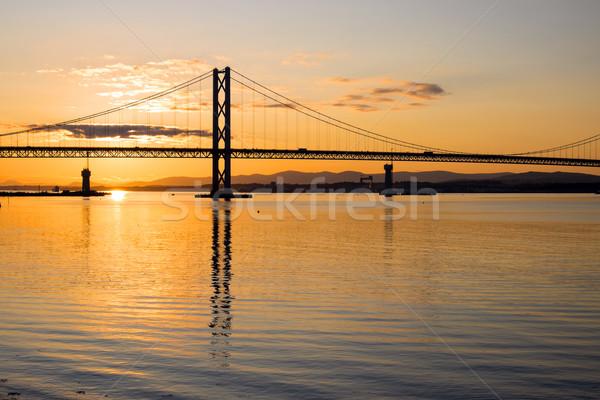 Foto stock: Estrada · ponte · madrugada · escócia · céu · pôr · do · sol