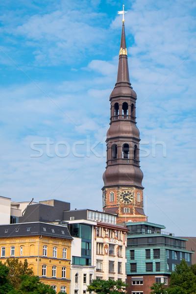 教会 住宅 ハンブルク 塔 古い ドイツ ストックフォト © elxeneize