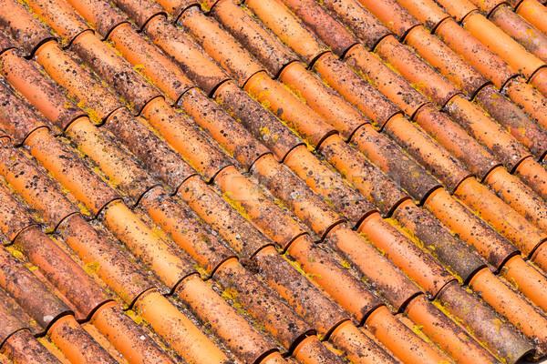 старые грязные красный крыши плитки дома Сток-фото © elxeneize