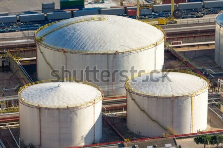 üç beyaz depolama gökyüzü inşaat çalışmak Stok fotoğraf © elxeneize