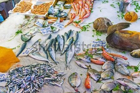 Mariscos peces mercado sicilia fondo pesca Foto stock © elxeneize
