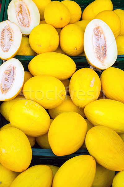 Yellow canary melons for sale Stock photo © elxeneize
