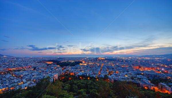 Foto stock: Atenas · pôr · do · sol · ver · madrugada · céu · nuvens