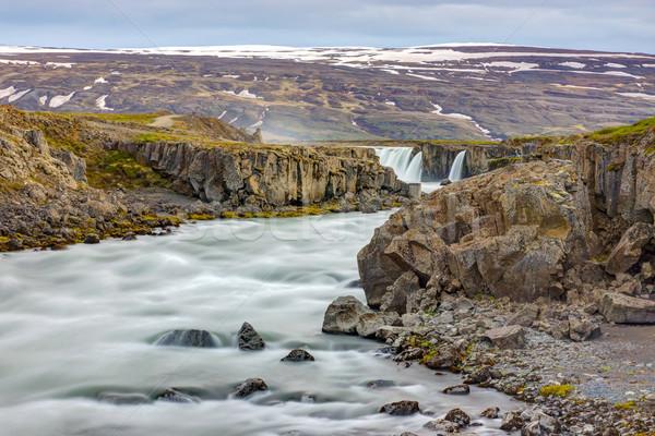 Nehir İzlanda çağlayan geri bahar manzara Stok fotoğraf © elxeneize