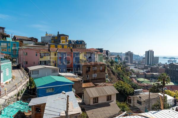 Kilátás színes házak Chile építkezés tájkép Stock fotó © elxeneize