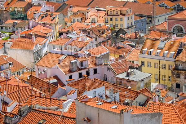 屋根 リスボン ポルトガル 詳細 古い 赤 ストックフォト © elxeneize
