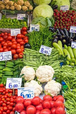 Paradicsomok karfiol vásár piac Isztambul étel Stock fotó © elxeneize
