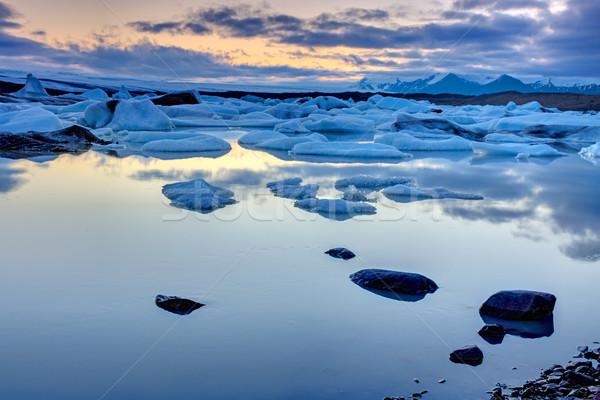 Gece yarısı İzlanda yaz plaj gökyüzü manzara Stok fotoğraf © elxeneize