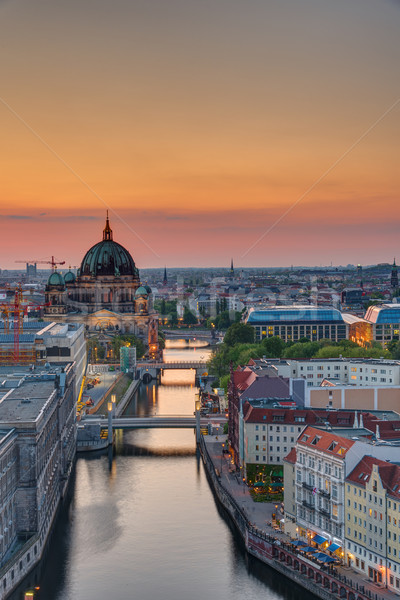 The Spree river in Berlin at sunset Stock photo © elxeneize