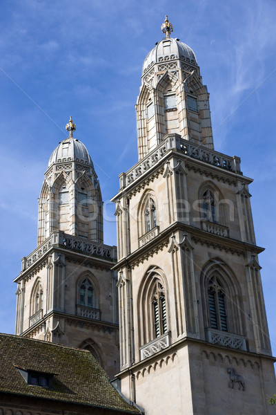 Zürih ünlü işaret kilise su şehir Stok fotoğraf © elxeneize