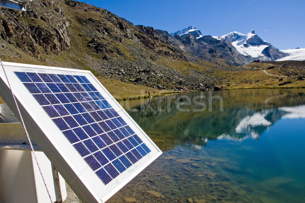 Solar technology in the alps Stock photo © elxeneize