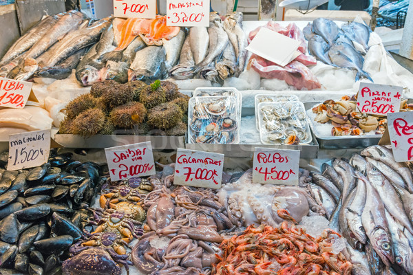 Fraîches fruits de mer poissons vente marché Santiago Photo stock © elxeneize