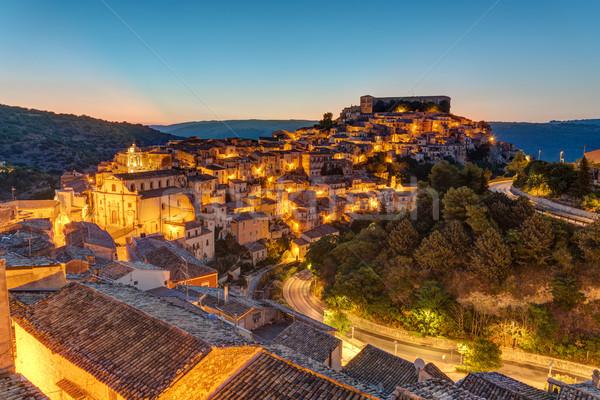 Sicília crepúsculo cidade velha montanha viajar noite Foto stock © elxeneize