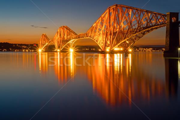 Megvilágított sín híd Skócia út épület Stock fotó © elxeneize