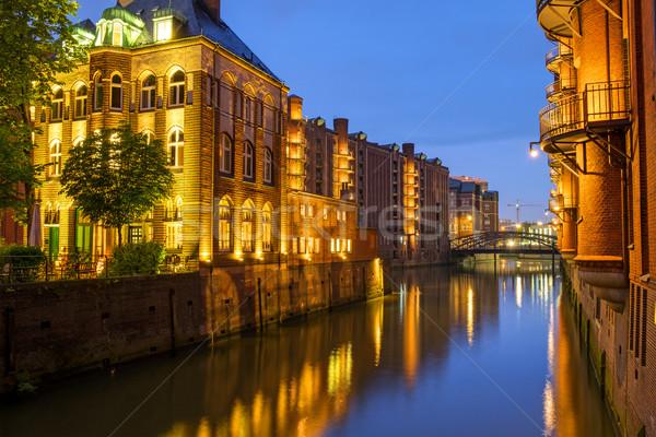 Canal in the Speicherstadt at night Stock photo © elxeneize