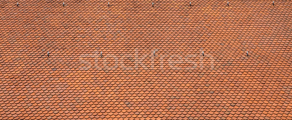 Stock photo: Texture of a red roof