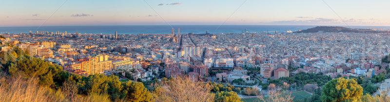 パノラマ バルセロナ 遅い 午後 市 教会 ストックフォト © elxeneize