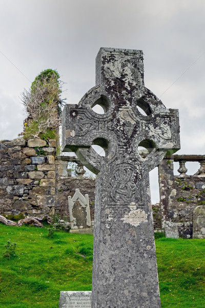 Celtic cross in Scotland Stock photo © elxeneize