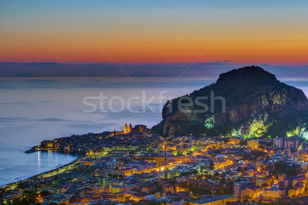 Sicilia amanecer hermosa ciudad agua casa Foto stock © elxeneize