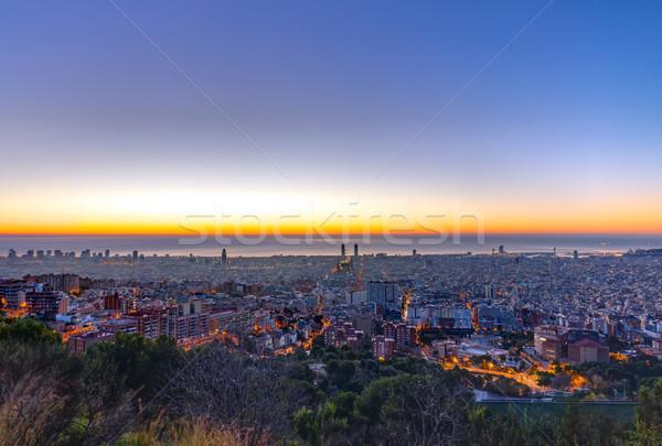 Barcelona panorama gündoğumu Bina şehir deniz Stok fotoğraf © elxeneize
