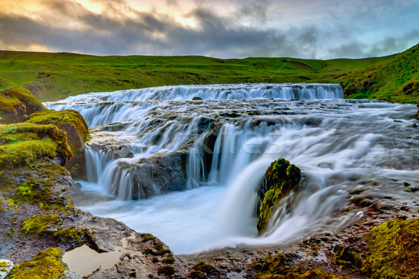 Waterfall at the Skoga, Iceland Stock photo © elxeneize