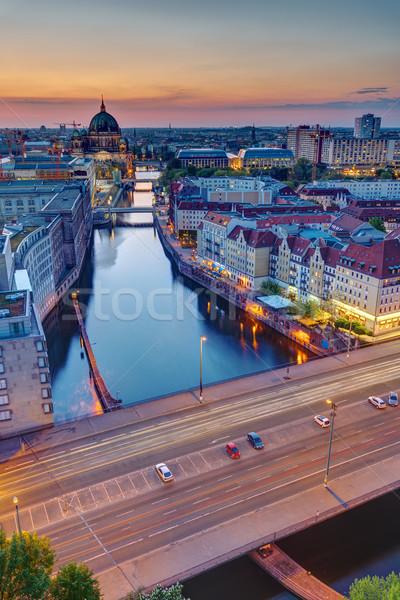 日没 川 ベルリン 大聖堂 戻る 空 ストックフォト © elxeneize