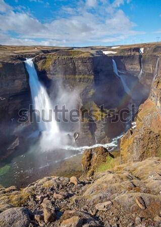 Islande deux cascades courir Rock cascade Photo stock © elxeneize