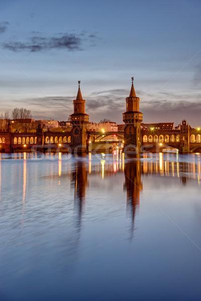 Ponte madrugada Berlim edifício pôr do sol viajar Foto stock © elxeneize