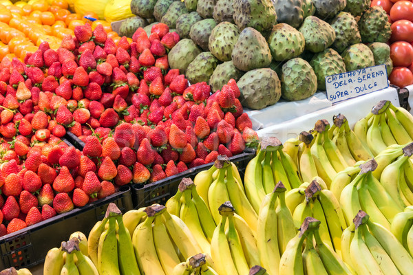 Fruit at the farmers market in Santiago Stock photo © elxeneize
